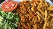 Ryż z krewetkami i frytki…